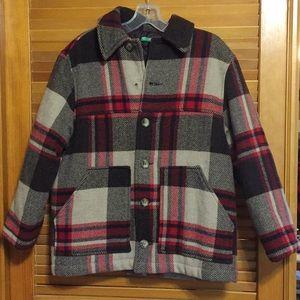 United Colors Of Benetton Wool Plaid Vintage Coat